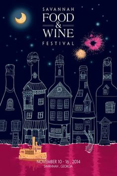 Narges Jafari's (M.F.A., illustration, 2015) winning poster design for the 2014 Savannah Food & Wine Festival.