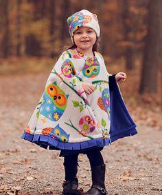 Cozy Gozy Ivory & Purple Owl Travel Cape & Hat - Toddler | zulily