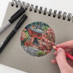 color pencil drawing Japanese inspired it would be cool to do this with circles of places you visited - Sketchbook Inspiration, Art Sketchbook, Art Et Design, Illustration Art, Illustrations, Toned Paper, Guache, Pencil Art, Color Pencil Drawings