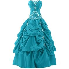 Sunvary Ball Gown Strapless Appliqued Ruffle Long Prom Gowns... ($170) ❤ liked on Polyvore featuring dresses, gowns, blue dress, blue gown, long blue dress, long prom gowns and blue prom dresses