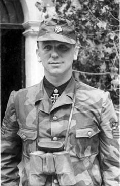 Kurt Meyer in Normandy as commander of Panzer-Grenadier Regiment 25 in 1944. He would assume command of the division after the death of Fritz Witt. He would be convicted of killings of prisoners at his HQ in Normandy. Postwar he became HIAGs spokesman.