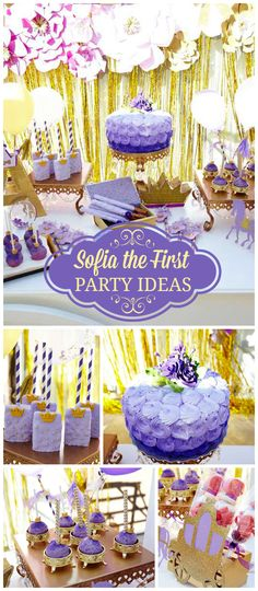 A purple and gold Sofia the First girl birthday party with big paper flowers and a sweet cart with royal treats! See more party planning ideas at CatchMyParty.com!