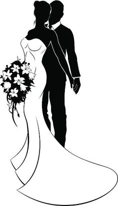 Illustration of Wedding concept of bride and groom couple in silhouette, the bride in a white bridal dress gown holding a floral wedding bouquet of flowers vector art, clipart and stock vectors. Couple Silhouette, Wedding Silhouette, Silhouette Clip Art, Love Wallpapers Romantic, Wedding Dress Sketches, Dancing Drawings, Wedding Embroidery, Family Painting, Love Images