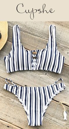 New Arrivals! Cupshe Popular Ballad Stripe Bikini Set features blue stripe prints and hot lace-up design. Now Cupshe storewide sale is going! Shop more hot bikinis and new-arrivals at one time to get larger discount! Free shipping & Check it out!