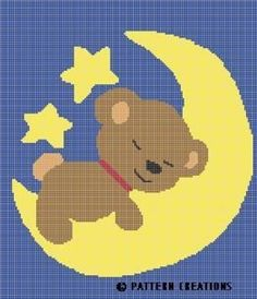 CROCHET PATTERN TEDDY BEAR SLEEPING ON MOON GRAPH CHART E-MAILED.PDF | crochetpatternsetc - Patterns on ArtFire
