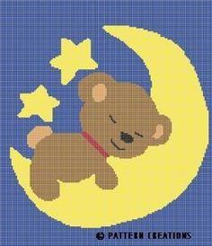 CROCHET PATTERN TEDDY BEAR SLEEPING ON MOON GRAPH CHART E-MAILED.PDF | crochetpatternsetc - Patterns on ArtFire