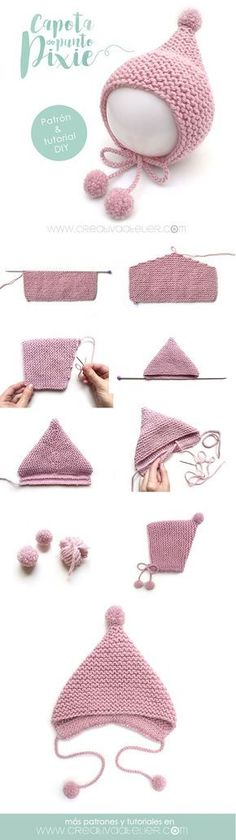 Baby Knitting Patterns Pixie baby hat… Baby Knitting Patterns Pixie baby hat… This image - Knitting Ideas Baby Knitting Patterns, Baby Hats Knitting, Easy Knitting, Baby Patterns, Knitted Hats, Crochet Patterns, Crochet Hats, Crochet Beanie, Knit Baby Sweaters
