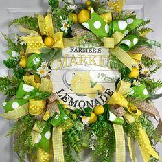 Yellow and Green Lemonade Spring and Summer Mesh Door Wreath