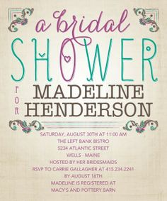 Bridal shower invitation. Every Last Detail:Plumberry