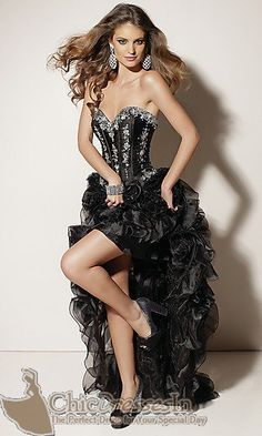 High Low Strapless Sweetheart Black Prom Dress 2012