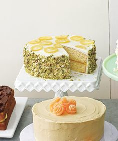 Yellow Lemon Cake With Candied Lemons and Pistachios.