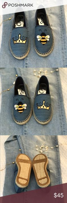 Circus Sam Edelman Queen Bee espadrilles NIB Circus by Sam Edelman Queen Bee denim espadrilles new in box. Size 7.5. So adorable. If you can wear them on the wrong feet, they can also be Be Queen! Circus by Sam Edelman Shoes Espadrilles
