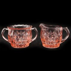 Jeannette Windsor Diamond Pink Creamer Sugar Depression Glass Vtg