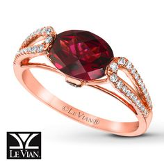 Le Vian® Raspberry Rhodolite® Garnet Ring with Vanilla Diamonds® and Chocolate Diamonds® in 14K Strawberry Gold®