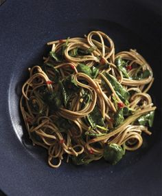 Spicy Soba Noodles with Wilted Watercress Recipe (Vegan, Gluten-Free) by godairyfree: Soba noodles, hearty and flavorful Japanese noodles made from either buckwheat only or buckwheat and wheat flour, pair perfectly with peppery watercress and a spicy dressing. Arugula or any dark leafy green like spinach  could sub for watercress. #Noodles #Soba_Noodles #Watercress #GF