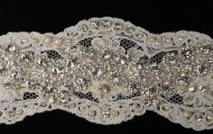 "Rhinestone and Pearl Flapper Wedding Lace Headband - ""Rich Baroque"""