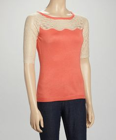 Look what I found on #zulily! Corallina & Cool Bisque Lace Top - Women by Cyrus #zulilyfinds