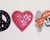 Peace Love Pirate Embroidery Design Machine Applique