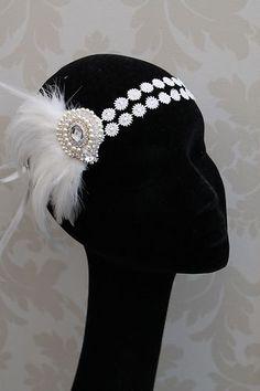 Flapper Headband Style Headband Feather Fascinator Fancy Dress Vintage new Flapper Headpiece, Flapper Headband, Flapper Style, 1920s Flapper, 1920s Style, Gatsby Style, Gatsby Girl, Vintage Dresses, Vintage Outfits