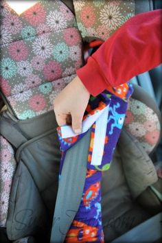 Easy Pillow for car seat- uses fleece, and velcro and goes over the seat belt- looks awesome!!