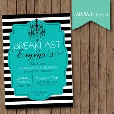 Breakfast At Tiffany's Birthday Invitation, Tiffany's Birthday Invite, DIY Printable