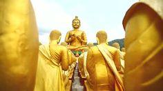 Ad: Dolly: Golden Buddha at Buddha Memorial park , Nakornnayok, Thailand, HD - Asian Decorations Golden Buddha, Memorial Park, Anubis, Buddhism, Monument Valley, Thailand, Religion, Princess Zelda, Asian
