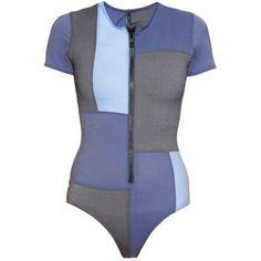 Lisa Marie Fernandez Farrah patchwork-denim swimsuit ($207) ❤ liked on Polyvore featuring swimwear, blue multi, swim costume, high waisted swimsuit, blue swimsuit, high waisted swim wear and denim swimsuit