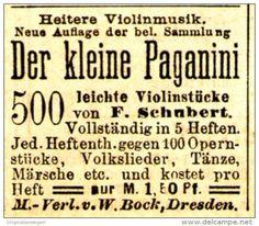 Original-Werbung/ Anzeige 1884 - DER KLEINE PAGANINI / VIOLINSTÜCKE SCHUBERT…