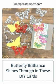 These DIY cards feature some butterfly brilliance! It shines through and these cards are easy to make. I've got a video tutorial for you too. Check it out at www.klompenstampers.com #diycards #greetingcardshandmade #handmadecards #papercards #stampinupcards #cardmaking #jackiebolhuis #klompenstampers Card Making Templates, Card Making Tips, Card Making Tutorials, Paper Cards, Diy Cards, Greeting Cards Handmade, Stampin Up Cards, Cardmaking, Diys