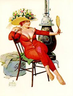 Hilda - Sitting on chair next to stove, in long red underwear, admiring new hat in mirror
