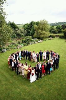 maybe we could do this with our families and bridal party shot from upstairs looking down?