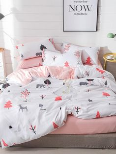 To find out about the Animal & Tree Print Sheet Set at SHEIN, part of our latest Bedding Sets ready to shop online today! Room Design Bedroom, Girl Bedroom Designs, Home Bedroom, Girls Bedroom, Bedroom Decor, Cute Bedroom Ideas, Cute Room Decor, Cute Bed Sets, Rustic Bedding Sets