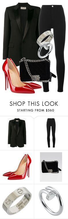 """""""Sem título #2113"""" by mariandradde ❤ liked on Polyvore featuring Yves Saint Laurent, Givenchy, Christian Louboutin, Chanel and Cartier"""