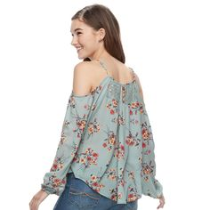 ad23378c7684 Juniors  Rewind Floral Embroidered Cold-Shoulder Top  Floral