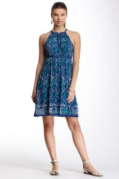 Max Studio Halter Neck Sleeveless Printed Dress