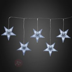 Akryl-stjärnridå med LED, 5 stjärnor