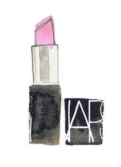 lipstick make-up nars illustration pink bright fashion art illustratie