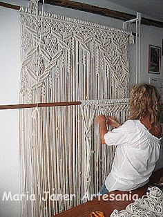 Handmade macrame curtain - for the front windows!large macrame wall hanging I want for my office for curtains. will have to keep cat out of that room!Amazing macramé curtain- I miss doing macramehow to make a macrame curtain - Yahoo Search Results h