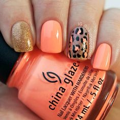 Coral gold black glitter nails. Edgy nails. Animal print. Cheetah leopard print. Cute nails. Easy nails. Simple nails. Love these! Bold nails. Elegant. I love coral n gold!! Def getting these