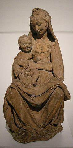 **Antonio Rossellino, Virgen con el Niño, modelo para una estatua. (c.1465) Barro. Londres, Victoria and Albert Museum. -28