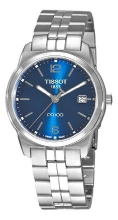 Tissot Men's T0494101104701 PR 100 Blue Dial Bracelet Watch Tissot. $215.00. Quartz movement. Push button deployant clasp. Blue dial. Water-resistant to 330 feet (100 M). Stainless steel bracelet. Save 22%!