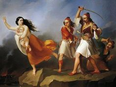 Young Albanian being chased by Turk, Filippo Agricola, century. (De Agostini/A. Albanian Culture, Arabian Art, Old Art, Folk, Art Gallery, Character Design, Wonder Woman, Superhero, History