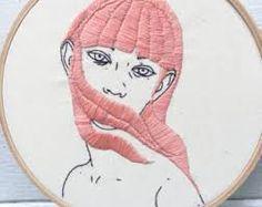 Resultado de imagen de embroidery pink hair