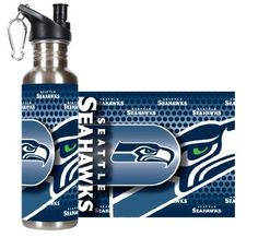 Seattle Seahawks - NFL 26oz Stainless Steel Water Bottle with 360º Wrap by Great American Products. $18.95. Perfect for the fan who has it all. Stainless Steel. Officially licensed by the NFL. Hand wash only. Do not microwave.. Show your support for your team. Vibrant team graphics wrap 360º around this 26oz Stainless Steel Water Bottle. Eco-Friendly and BPA Free. Features a black pop-top spout for easy drinking.