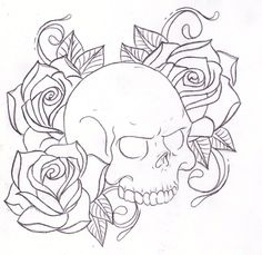 roses and sugar skull tattoo designs Outline Drawings, Tattoo Outline, Easy Drawings, Tattoo Drawings, Skull Drawings, Rose Coloring Pages, Skull Coloring Pages, Coloring Books, Tattoo Designs