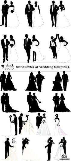 Vectors - Silhouettes of Wedding Couples 2