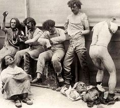 Melted and damaged mannequins after a fire at Madam Tussauds Wax Museum 1930