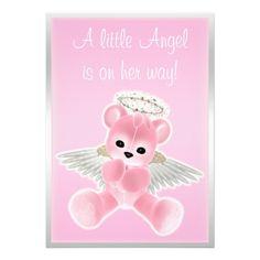 Pink Angel Teddy Bear Baby Shower Custom Invitation