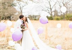 Berry toned spring wedding editorial from Erika Lynn Photography. Plum Wedding, Spring Wedding, Wedding Blog, Berries, Balloons, Rustic, Table Decorations, Purple, Wedding Dresses