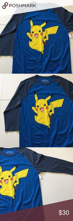 NWT Pokémon Blue Baseball Style Tee Men's Brand new with attached tags. Men's sizing. Pokemon Shirts Tees - Long Sleeve